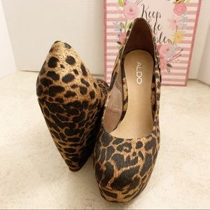 Aldo animal print wedges size 38